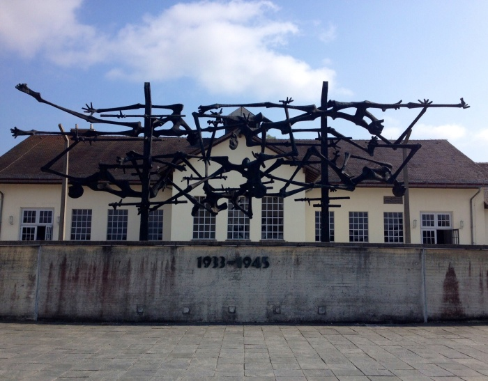 A sculpture erected in front of the Maintenance Building in Dachau. It is an amalgamation of barbed wire and emaciated bodies. Chilling.