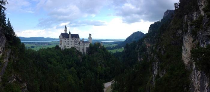 The view of Neuschwanstein Castle from the Marienbrucke.