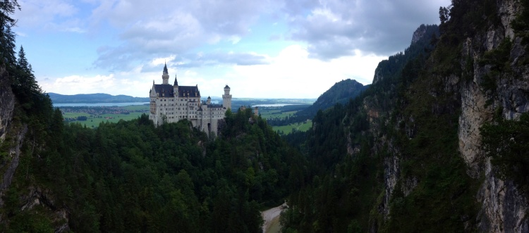 The view of Neuschwanstein Castle from the Marienbrucke.
