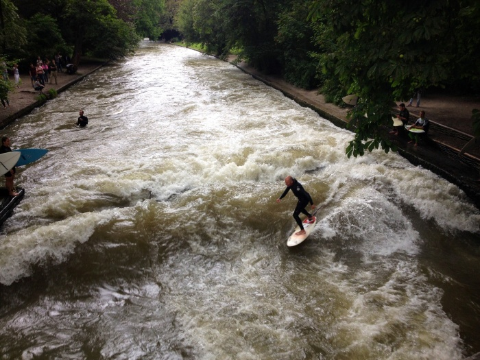 Nothing stops Munich's surfboarders from getting their fix in the middle of the city.
