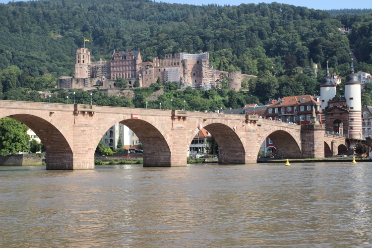 The Old Bridge, with a view of Heidelberg Castle in the background.