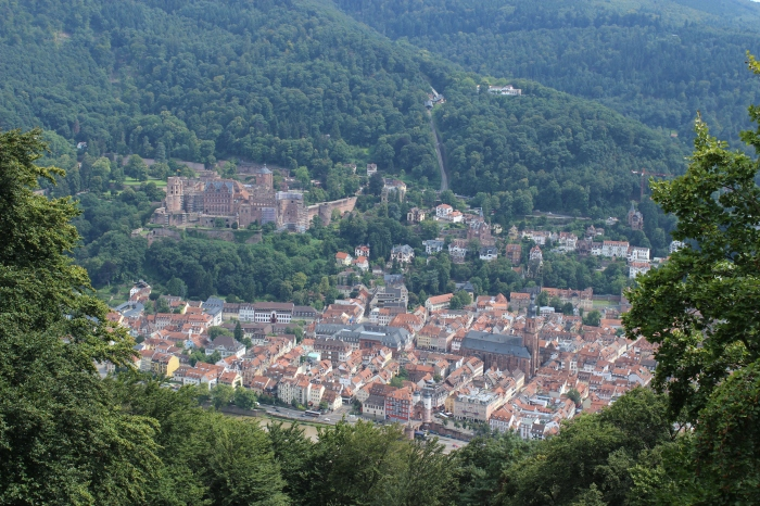 The view from the tower at St. Stephenskloster. You can see Old Town, the Old Bridge, and Heidelberg Castle.