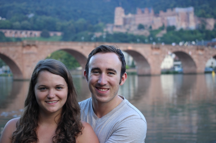 On the riverbank during the Golden Hour on our last night in Heidelberg.